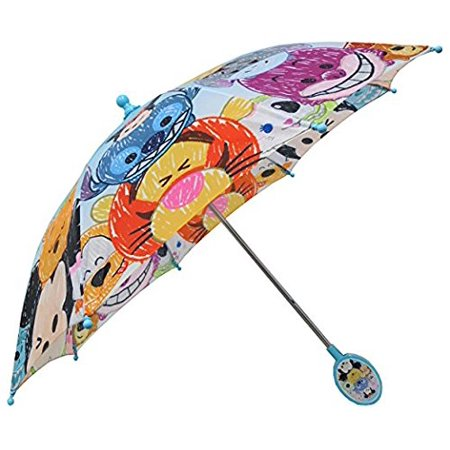 Disney Umbrella - Tsum Tsum Allover Print Light Blue Umbrella with 3D Handle- Blue