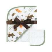 Hudson Baby Boy and Girl Woven Hooded Towel and Washcloth, Woodland