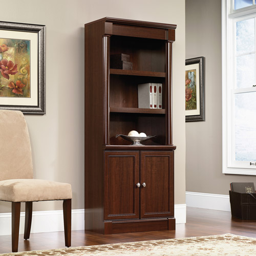 Sauder Palladia 3-Shelf Library Bookshelf with Doors, Multiple Finishes