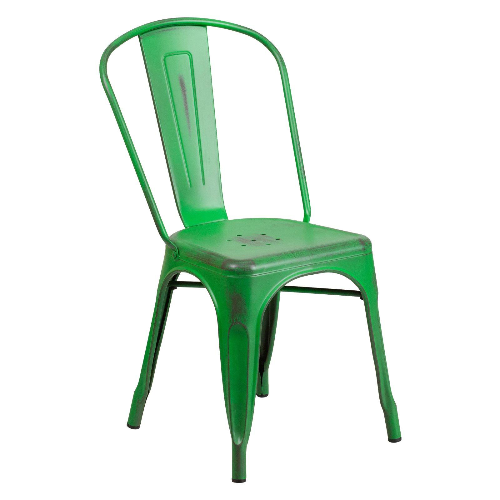 Flash Furniture Distressed Metal Indoor-Outdoor Stackable Chair Multiple Colors