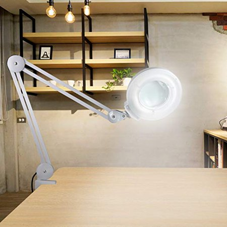 Zeny LED Daylight Desk Table Magnifying Clamp Lamp - 5X Magnifier - Adjustable Swivel & Swing Arm For Task Craft or Workbench