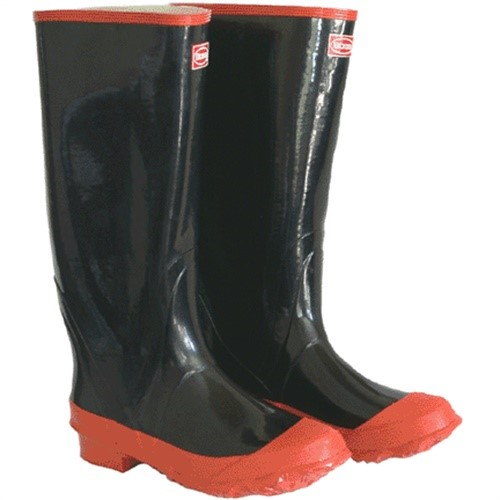 Boss 2KP5221-09 Rubber Knee Boot, Size 9, Black & Red