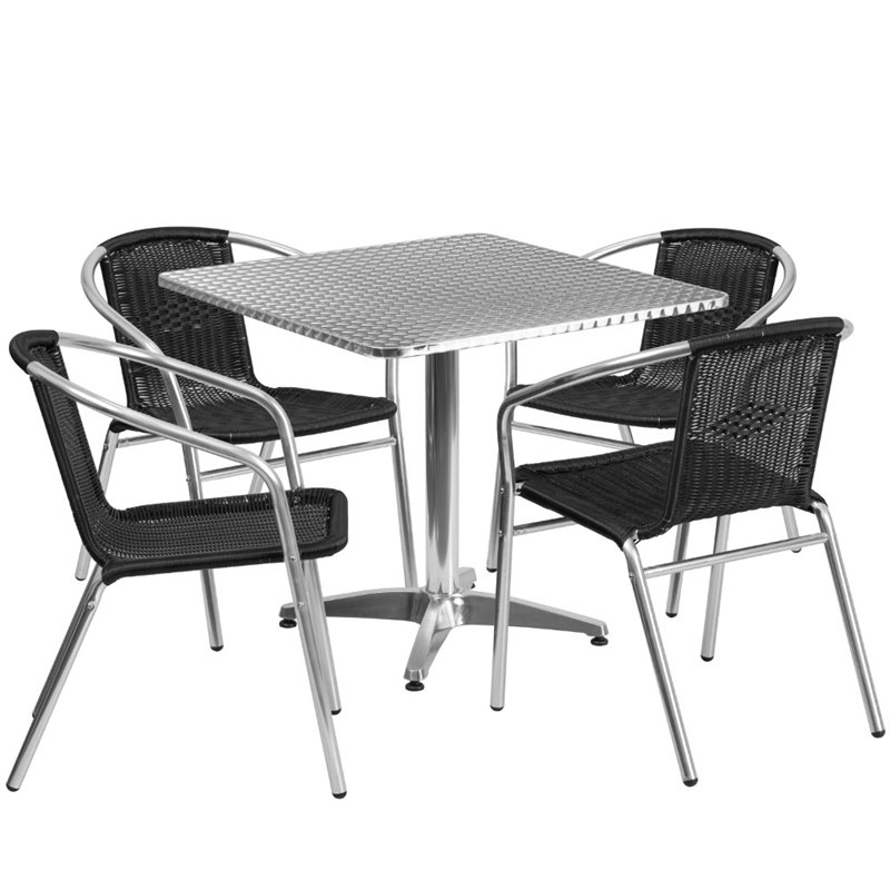 Bowery Hill 5 Piece Square Patio Dining Set in Aluminum and Black