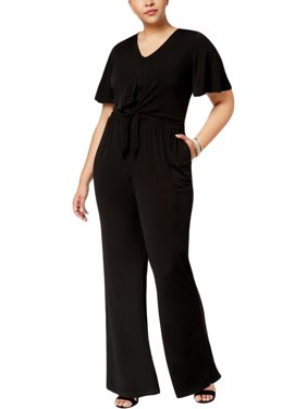 7424218c20f Product Image NY Collection Womens Plus Tie-Waist Short Sleeves Jumpsuit