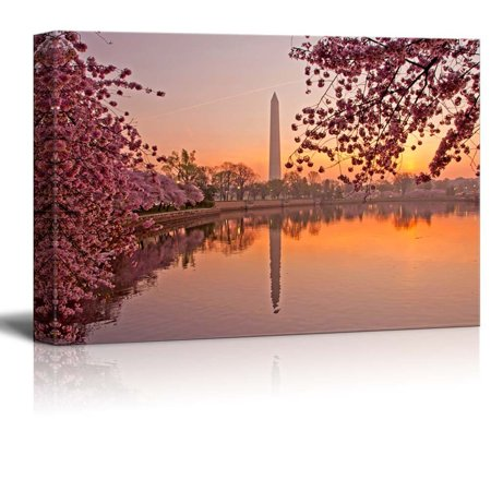 Cherry Blossom Festival at the National Mall Washington DC Wood Framed - Canvas Art Wall Decor - 32