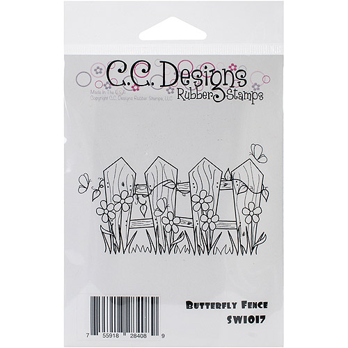 """Swiss Pixie Cling Stamp, 4"""" x 2.25"""", Butterfly Fence"""