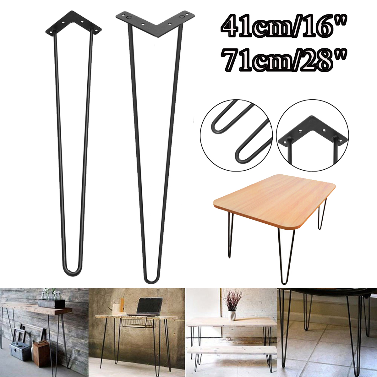 4x Hairpin Table Legs Set 3 Rod Dining Table Desk Steel Legs Size 21-71cm