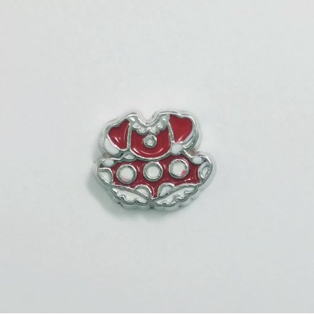 1 PC - Minnie Mouse Dress Enamel Silver Charm for Floating Locket Jewelry F0313