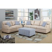 Poundex Moss 2-piece Blended Linen Living Room Set, with Matching Ottoman, and Pillows