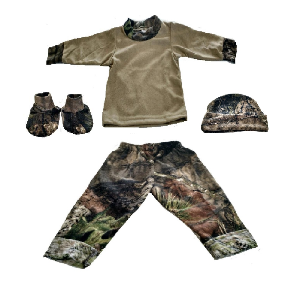 Baby / Infant Long Sleeve Tee Shirt, Camo Roll Up Pants, Hat & Booties Set (Newborn)