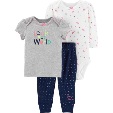 (Short Sleeve Bodysuit, Graphic T-Shirt & Pants, 3-Piece Outfit Set (Baby Girls))
