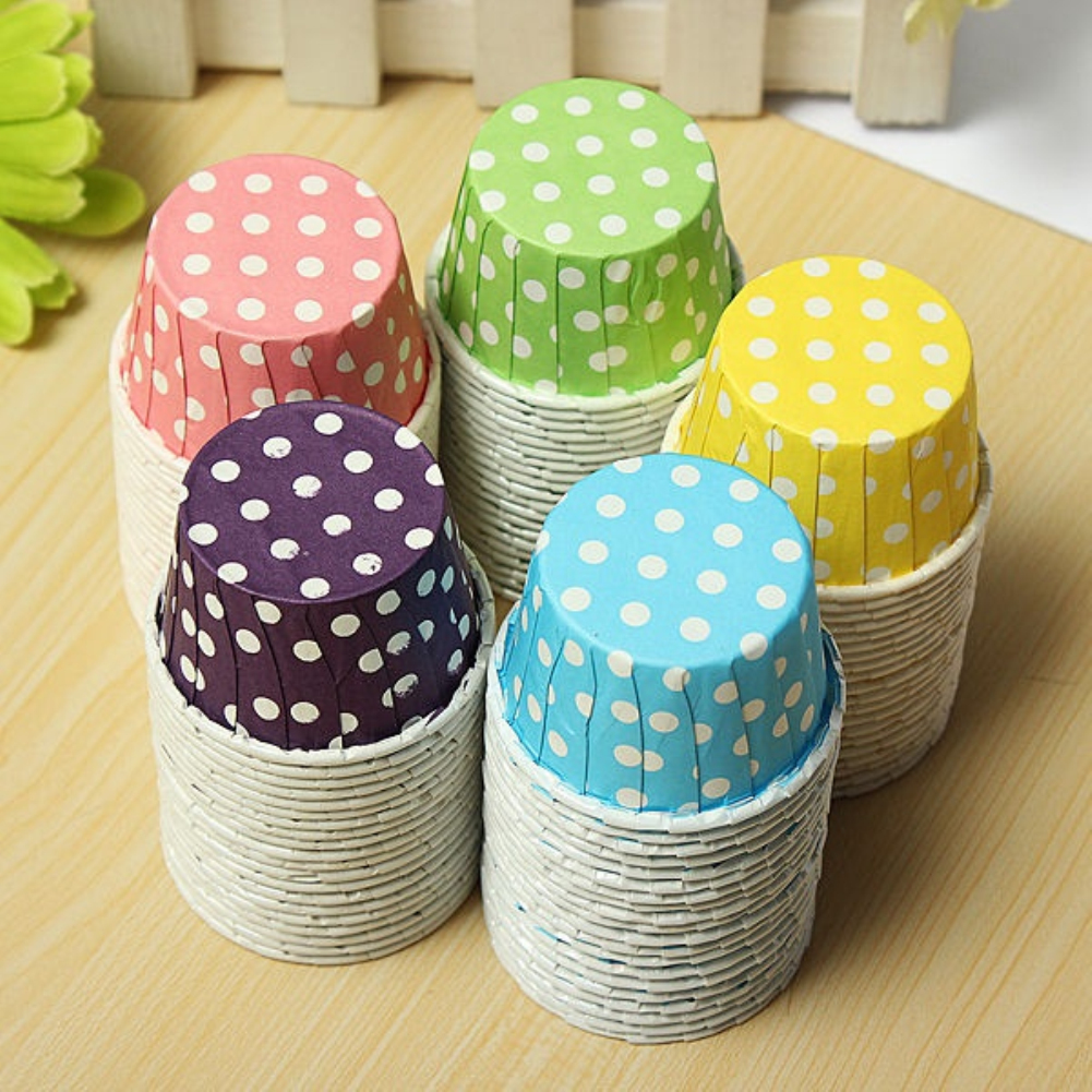 Girl12Queen 20pcs Colorful Wave Point Paper Cake Cup Liners Baking Muffin Cake Cupcake Cases