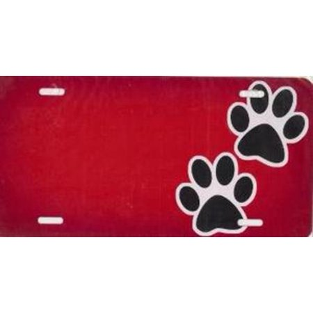 Red Paws Airbrush License Plate Free Names on this Air
