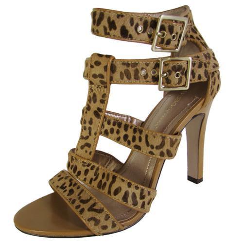 BCBG BCBGeneration Womens BG-Paulies 2 Leopard Strappy Pump Shoe, Tan, US 7