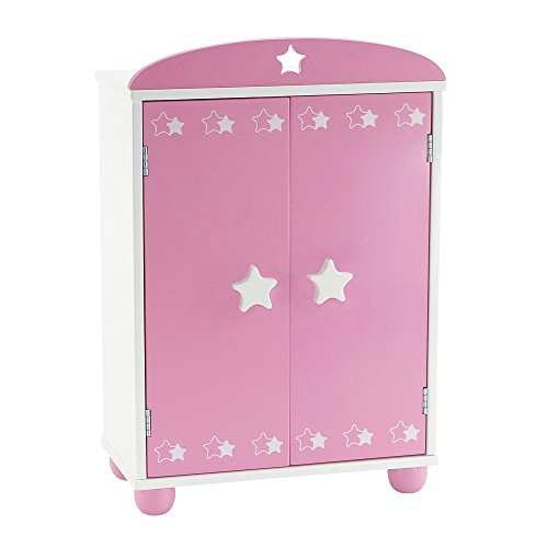 14 Inch Doll Furniture | Beautiful Pink And White Armoire Closet With Star  Detail Comes With