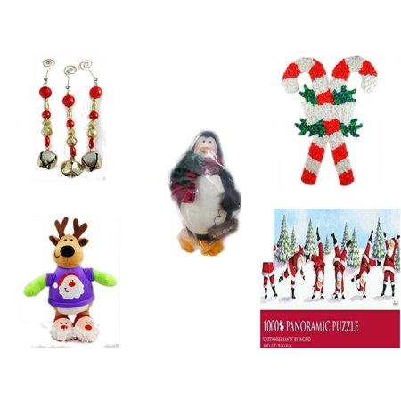 Christmas Fun Gift Bundle [5 Piece] - Set of 3 Jingle Bell Dangle Ornaments - Vintage 1960's Kage Co. Melted Popcorn Candy Cane - Penguin