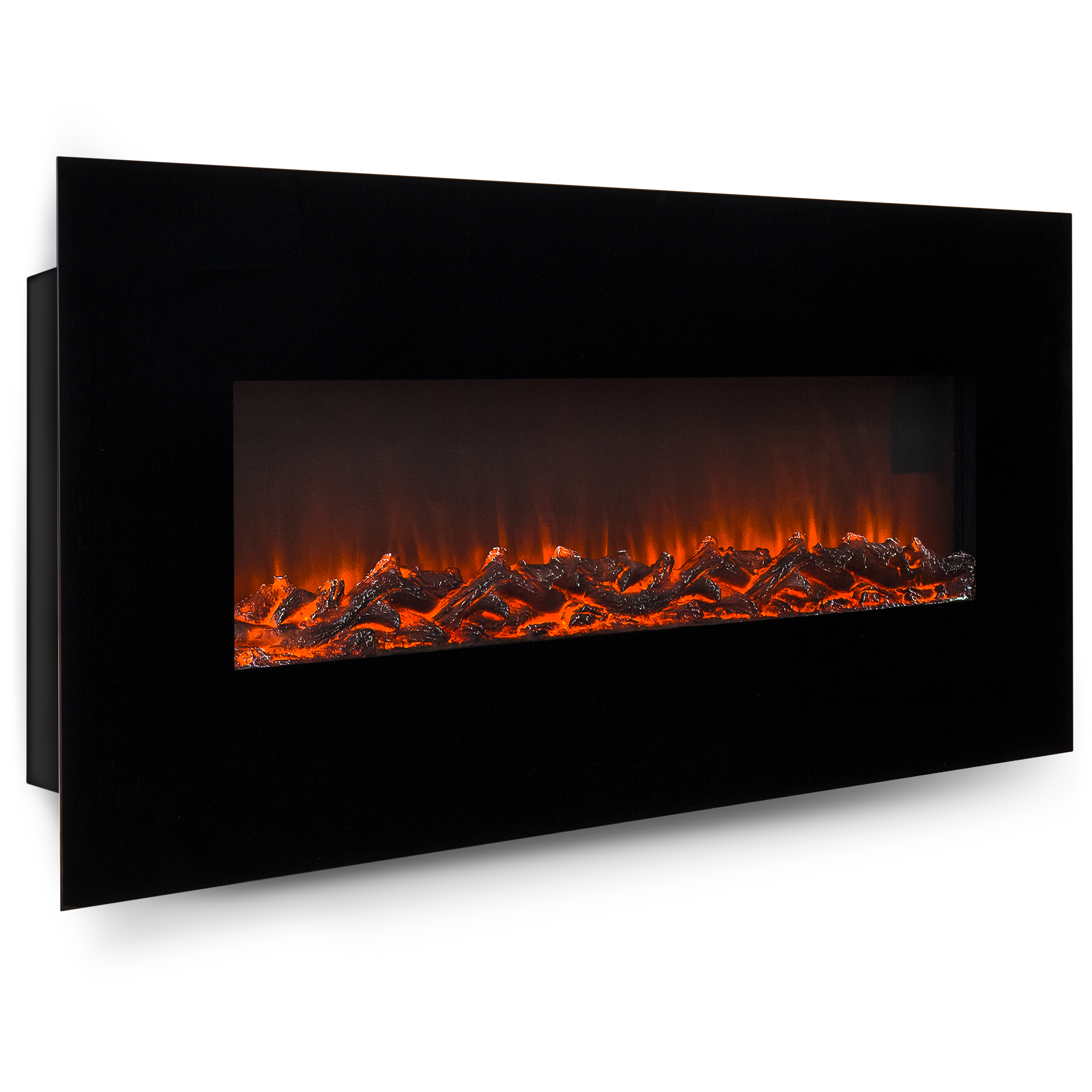 Click here to buy Best Choice Products 50in Indoor Electric Wall Mounted Fireplace Heater w  Adjustable Heating, Metal-Glass... by Best Choice Products.