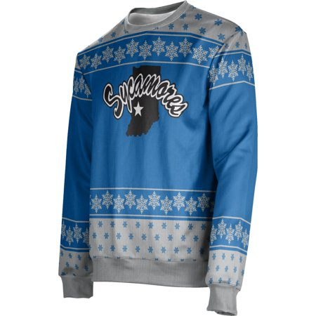 Men's Indiana State University Ugly Holiday Snowflake Sweater (Apparel)