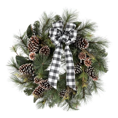Holiday Time Farmhouse Chic Pine Christmas Wreath Decoration, 28