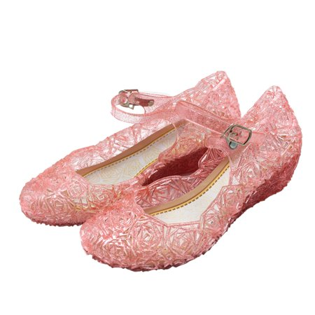 Kids Heel Shoes (Kids Girls Casual Jelly Hollow Sandals Wedge Heel Shoes Color:Pink Size:EUR)