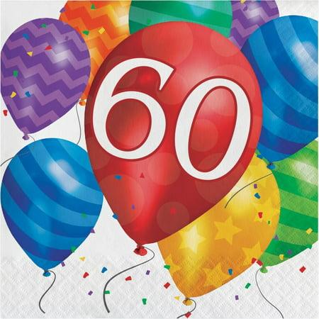 60th Birthday Napkins (Creative Converting Balloon Blast 60th Birthday Napkins, 16)