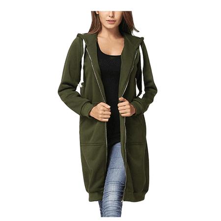 Green Womens Hoody - Women's Casual Zip Up Hoodie Coat, Green Solid Color Long Jacket Sweatshirt Outerwear for Women, S