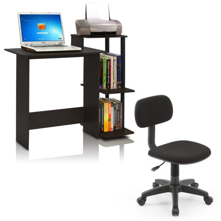Desk and Chair Set: Furinno 11192 Efficient Home Laptop Notebook Computer Desk Multiple Colors, and Hodedah Task Chair, Black