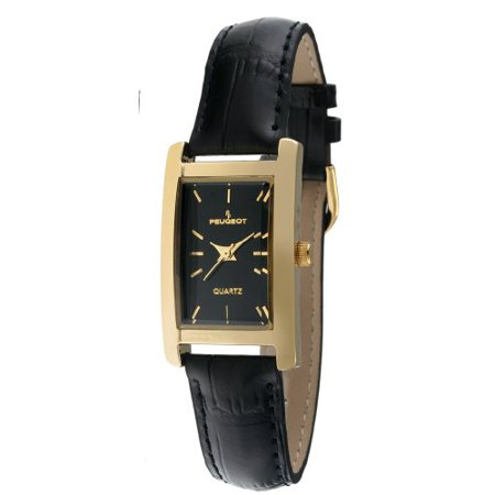 Women's Classy 14K Gold Plated H Rectangle Case Black Leather Band Dress Watch 3007BK ()