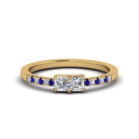 2 Stone Engagement Ring With 0.35 Carat Asscher Cut Diamond Sapphire In 14K Yellow Gold Asscher Sapphire Ring