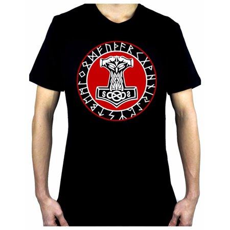 Norse Mythology Odin Viking Men's T-Shirt Occult Clothing Mjolnir Hammer - Viking Clothing For Kids