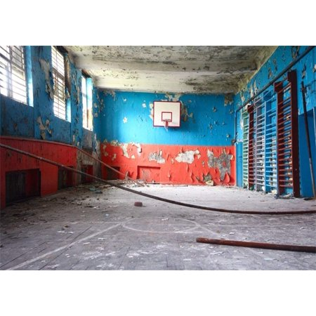 ABPHOTO 7x5ft Old Ruined Basketball Court Backdrop Grunge Peeling Color Painted Wallpaper Vintage Concerte Floor Interior Backdrops