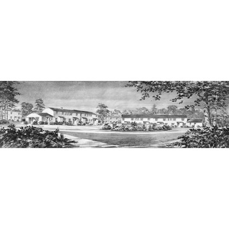 Maryland Row Houses Na Panoramic View Of A Proposal For Row Houses A Part Of The Greenbelt Project Drawing Photographed By Carl Mydans C1936 Rolled Canvas Art     24 X 36