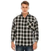 DODOING Men's Flannel Shirts Long Sleeve Plaid Shirt Plaid Shirt Mens Button Down Shirt Black/Red