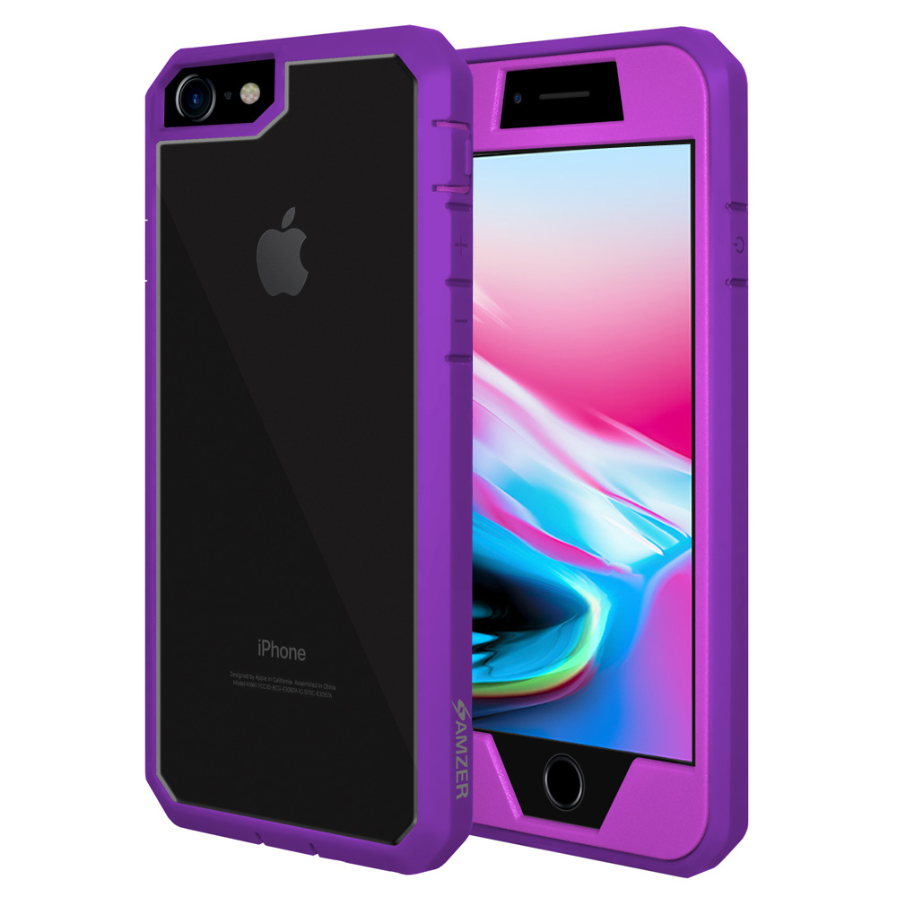 iPhone 8 Full Body Case, ScratchProof Guard Case with Built-in Screen Protector and Reinforced ShockProof Bumper for Apple iPhone 8 - Purple, Ultra Light, Transparent Back