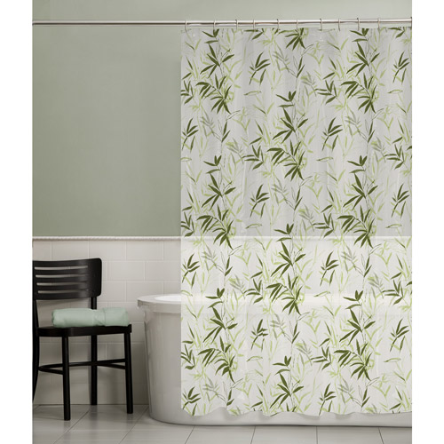 Maytex Zen Garden PEVA Vinyl Shower Curtain, Green