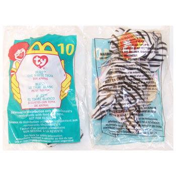 TY McDonald's Teenie Beanie - #10 BLIZZARD the White Tiger (2000) (4.5 inch) - White Tiger Plush