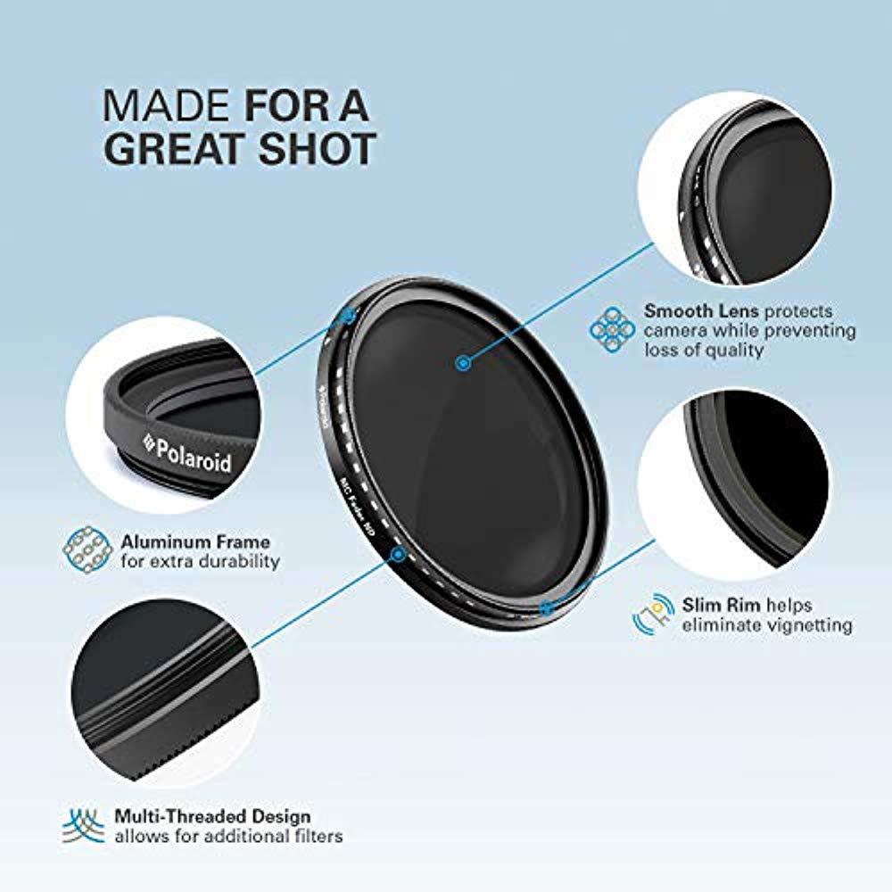 Polaroid Optics 82mm Multi-Coated Variable Range [ND3, ND6, ND9, ND16, ND32, ND400] Neutral Density Fader Filter ND2-ND2000 - Compatible w/ All Popular Camera Lens Models - image 2 de 8