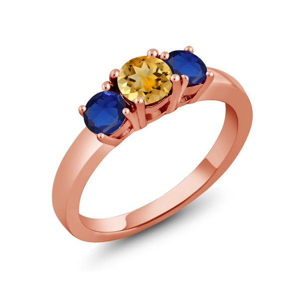 1.23 Ct Yellow Citrine Blue Created Sapphire 18K Rose Gold Plated Silver Ring