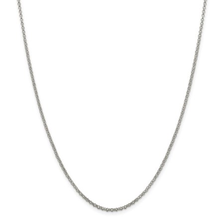 925 Sterling Silver Polished 2mm Rolo Chain Necklace - Spring Ring Gifts for Women - Length: 16 to 36 Old Silver Neck Ring Necklace