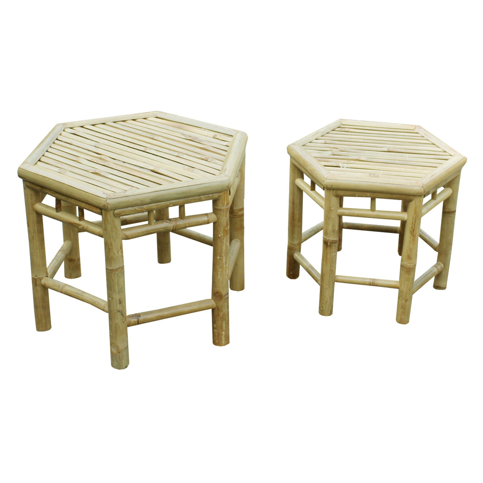 Zew Hand Crafted Bamboo Indoor/Outdoor End Tables - Set of 2