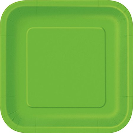 Square Paper Plates, 7 in, Lime Green, 16ct - Paper Square Plates