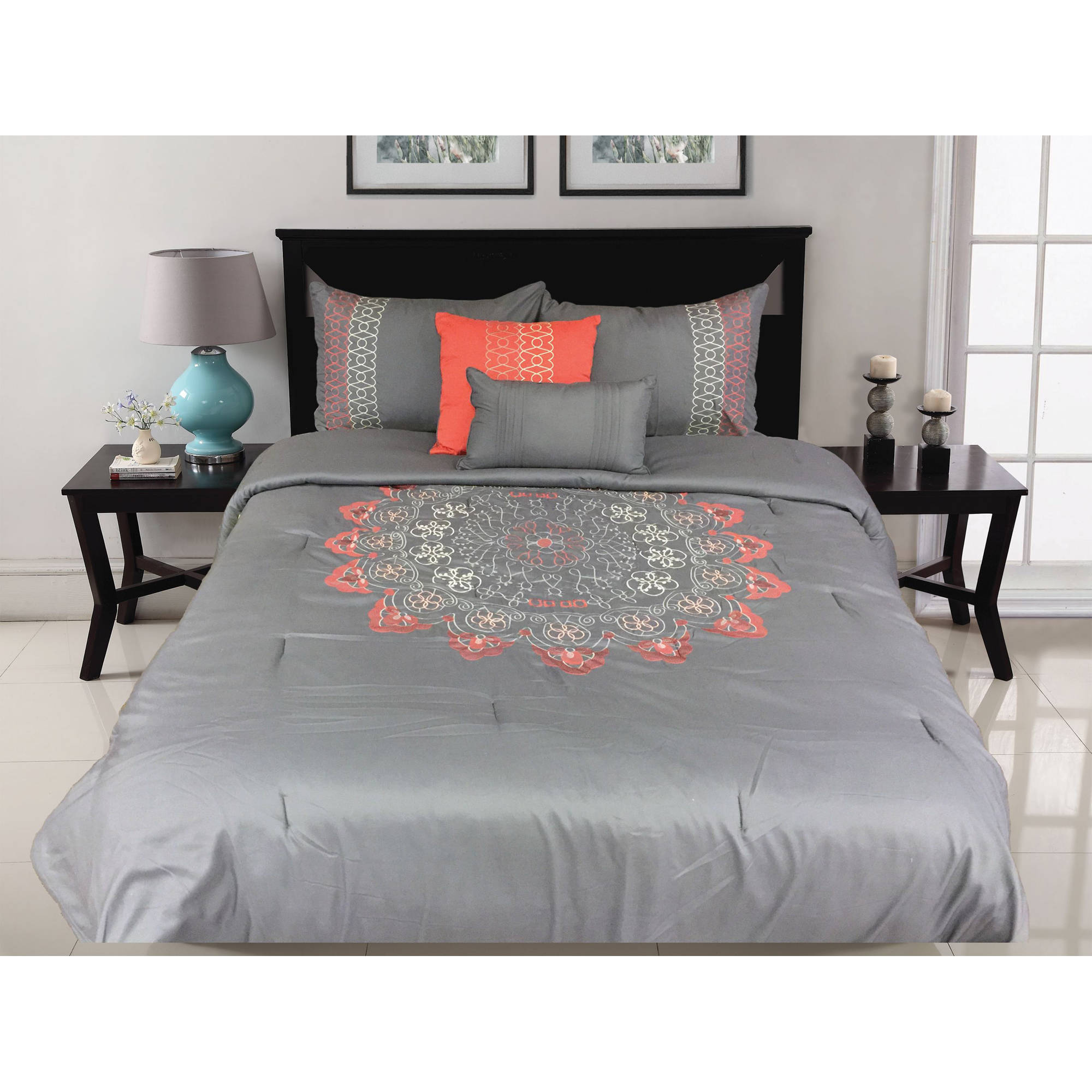 Better Homes and Gardens Catalina 5-Piece Embroidered Bedding Comforter Set, Coral