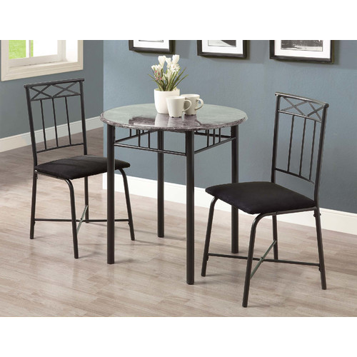 Monarch Dining Set 3Pcs Set / Cappuccino Marble / Bronze Metal