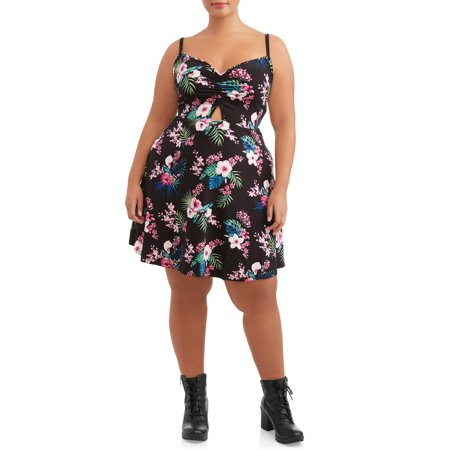 Eye Candy Juniors' Plus Size Skinny Strap Ruched Fit N' Flare Dress