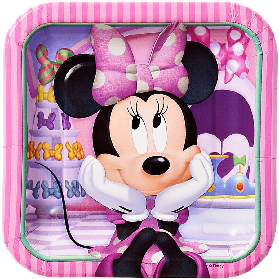"Minnie Mouse Bow-Tique 7"" Square Plates, 8 Count, Party Supplies"