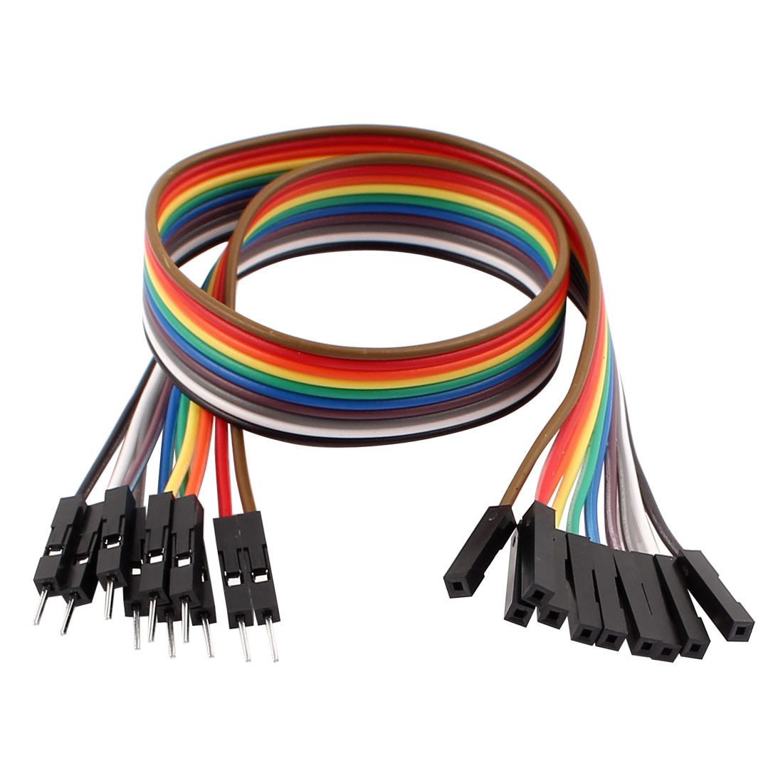 10PCS 2.54mm Pitch 1P Male to Female Breadboard Dual Head Jumper Wire Cable 30cm