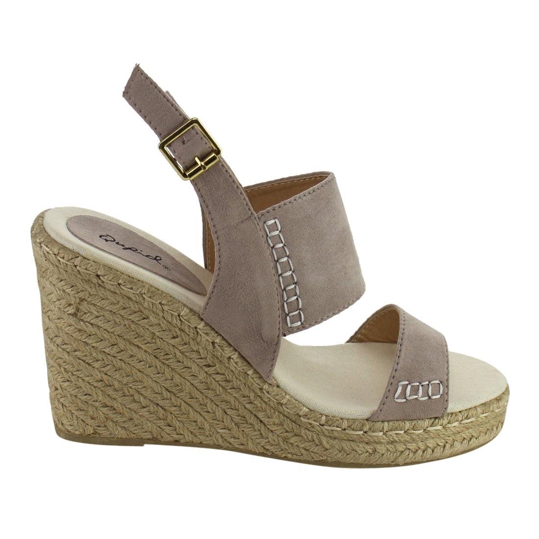 QUPID FG61 Women's Platform Slingback Stitched Espadrille Platform Women's Wedge Sandals 6a33ff