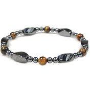 Magnetic Simulated tiger Eye and Hematite Therapy Bracelet – fashion jewelry women men-8""