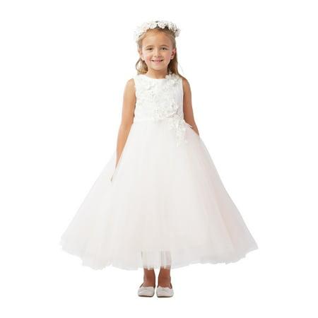 Girls Ivory Shiny 3D Lace Bodice Mesh Skirt Junior Bridesmaid - Bodice Lace Skirt