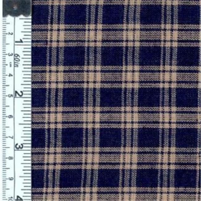 Textile Creations 109 Rustic Woven Fabric, Natural Plaid Navy, 15 yd.